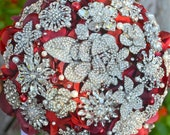 Deposit on a rich red heirloom jewel encrusted brooch bouquet -- made-to-order bridal bouquet