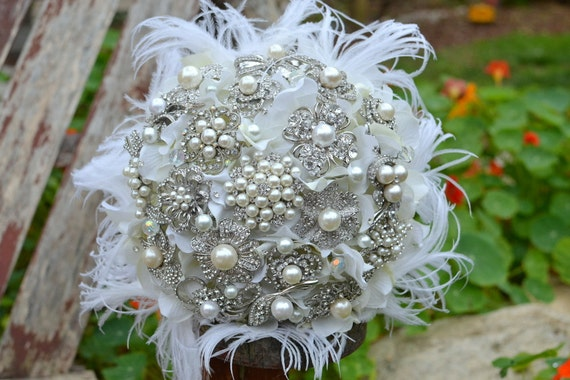 Deposit on a custom heirloom pearl posy with feathers -- made to order