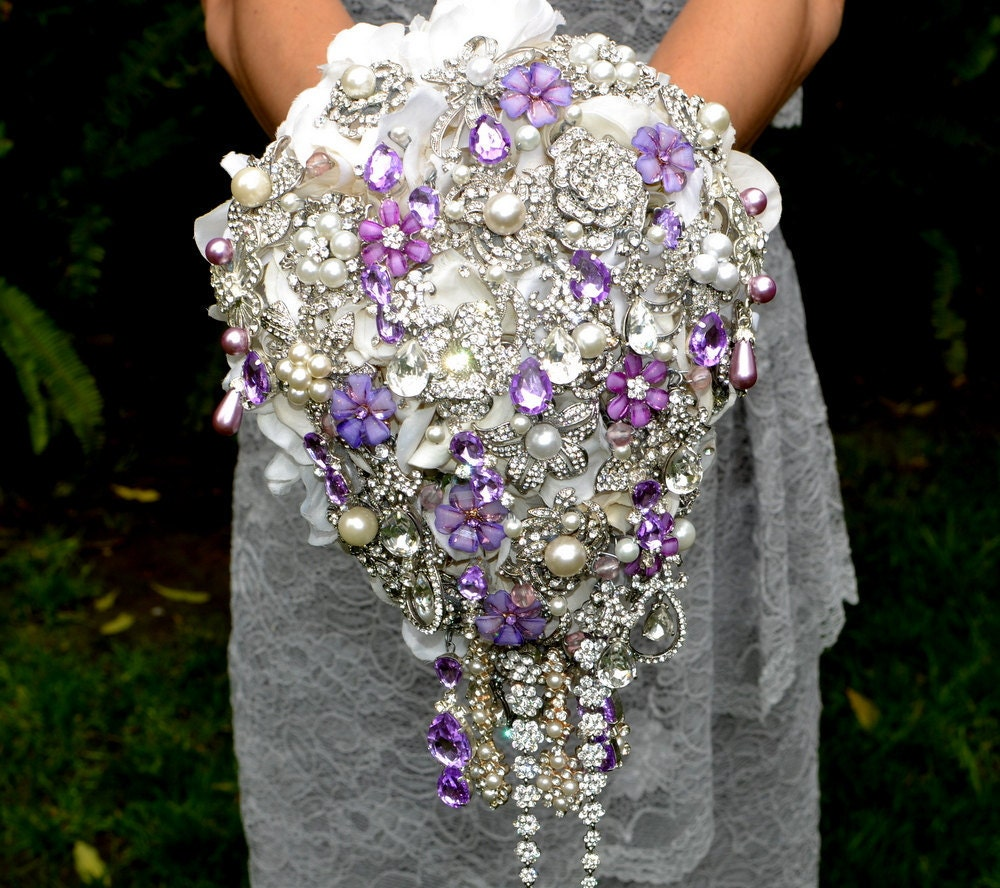 Average Cost Of Wedding Flowers 2014: Deposit On Lavender Cascading Jeweled Brooch Bouquet Made