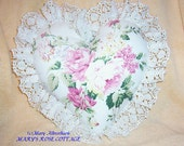 Beautiful  Romantic Cottage Chic Watercolor Roses and Lace pillow FREE Shipping ECS
