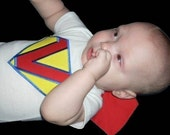 Super Baby Personalized Appliqued Onesie With Attached Cape