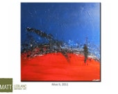 Abstract Art Vibrant Red Blue Original Textured Colourful Canvas Painting 30x30