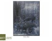 Blue Abstract Landscape Original Art Minimalist Textured Dark Blue Teal Grey Black Tones FREE SHIPPING 16x20