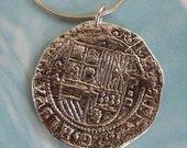 silver pirate coin pendant - SailorgirlJewelry