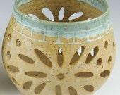 Christmas Pottery Candle Luminary, Holder, Votive, Pretty Little Liars, Patio Lantern, Handmade Ceramic Lantern,In Stock Ready to Ship