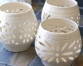 White Wedding Luminary, Candle Holder, Votive, Ceramic Lantern, Vase,Sun,Sunburst, Cross