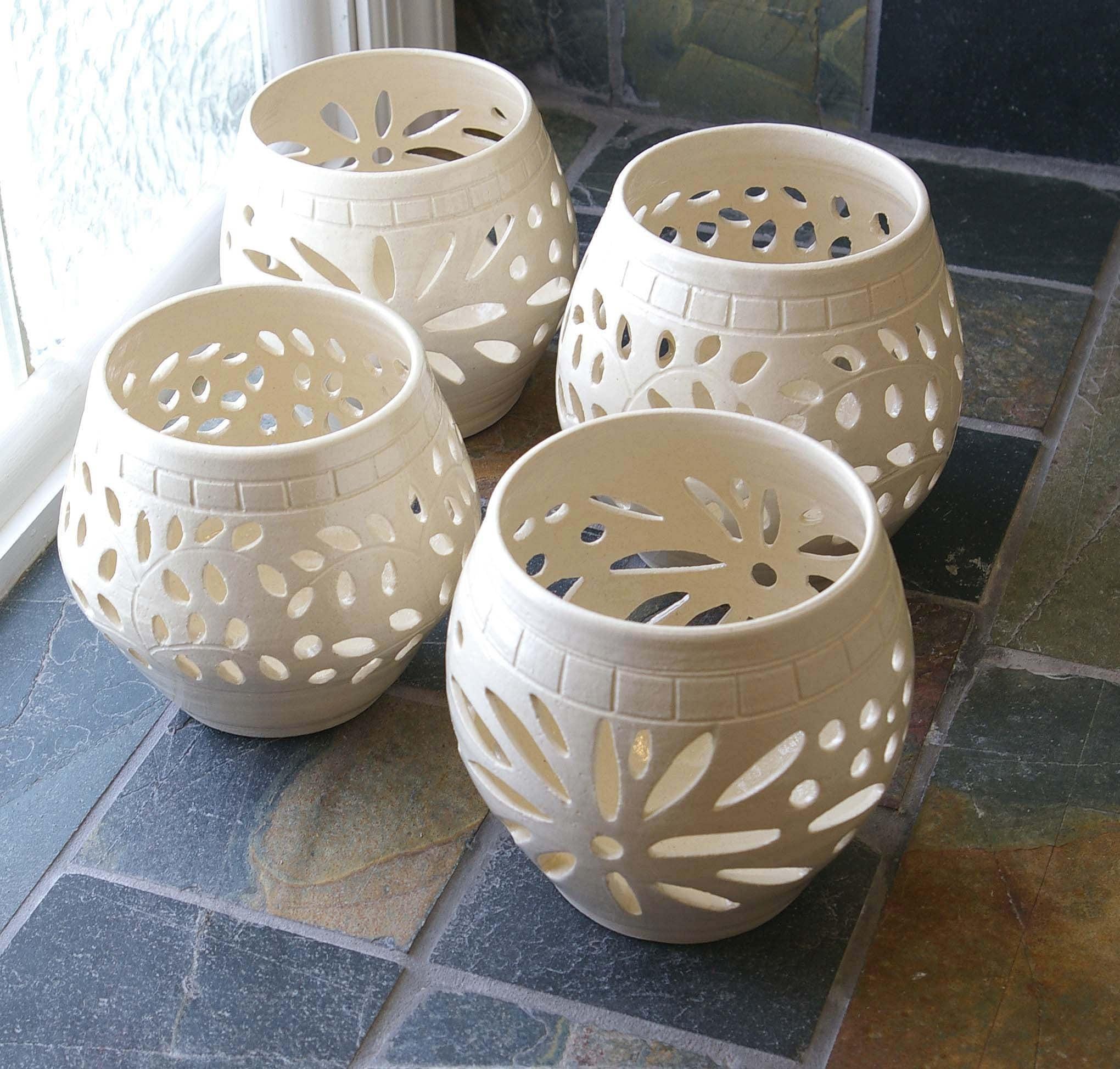 Handmade ClayStoneware Pottery White Wedding Candle