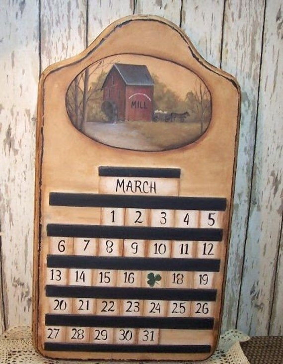 Primitive folk art wood perpetual calendar saltbox mill - Wooden perpetual wall calendar ...
