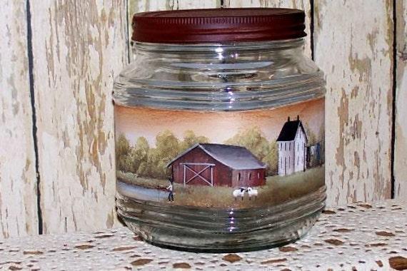 Cookie Jar Storage Pantry Hand Painted Primitive Folk Art Amish Saltbox OFG PAFA