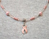 Esther's Wish Glass and Pearl Pink Ribbon Necklace
