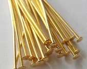 1 inch Gold Plated Head Pins 21 Gauge, Thick, Pack of 100  *CLEARANCE*