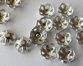 4mm Bead Caps Rhodium Plated, Pack of 100 *CLEARANCE*