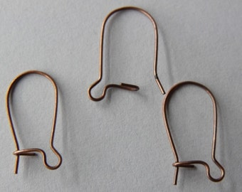 Kidney Ear Wires, Antique Copper Plated, Pack of 100