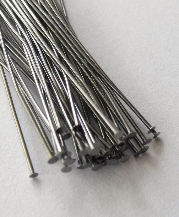 2 inch Gunmetal Black Plated Head Pins, 24 Gauge, Thin Wire, Pack of 100, **Clearance Sale**