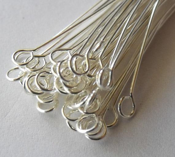 1.5 inch Silver Plated Eye Pins, 22 gauge, Medium Gauge, Pack of 100 *CLEARANCE*
