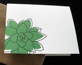 Succulent - Pair of Letterpress Notecards