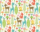 Woodland Tails Deer in Cream Cotton Quilting Fabric by Riley Blake Fat Quarter