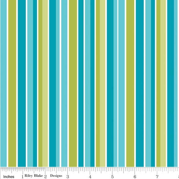 Riley Blake Peak Hour Stripes in Blue Cotton Fabric Fat Quarter