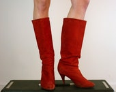 Vintage 1980's Red Suede Boots, Size 8 - 8.5