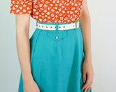 Teal Blue Skirt - 1970s Cotton Skirt