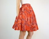 1950s Circle Skirt / Rockabilly Red Cotton