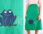 Vintage Frog Skirt / Novelty Green Cotton