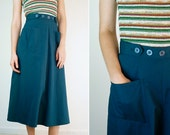 Wrap Skirt / Vintage Navy Blue Cotton