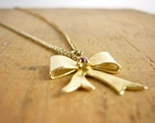 Bow Tie Necklace - Ribbon Bow Pendant