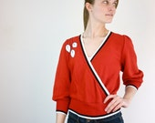 1960s Wrap Sweater - Whimsical Leaf Sweater