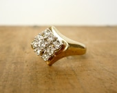 Vintage Cocktail Ring / Diamond Cluster Ring by Uncas