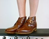 Vintage Shoes - Leather Buckle Boots