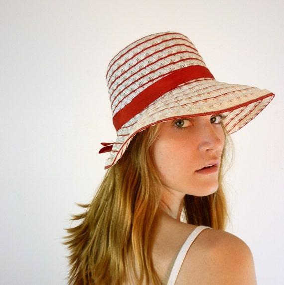 Vintage 1960's Red Straw Hat
