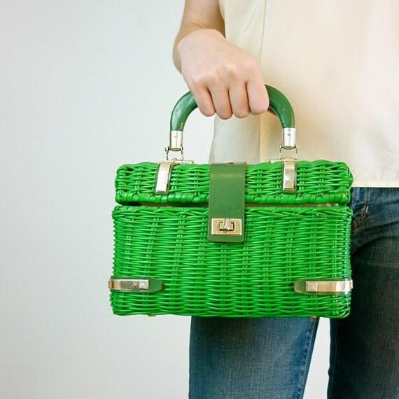 1950's Green Straw Handbag