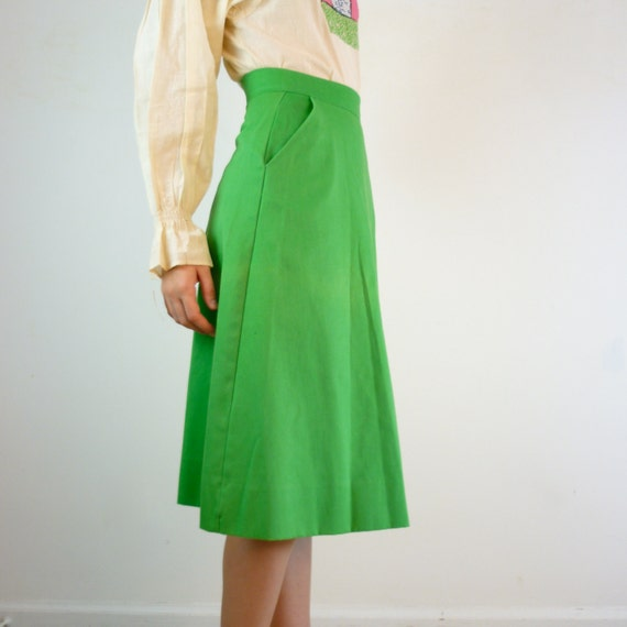 Kelly Green Skirt / Classic Vintage A-Line