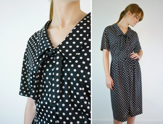 1950s Dress / 50s Polka Dot Dress / Plus Size Rockabilly