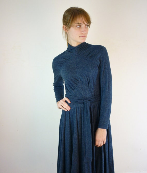 RESERVED. Blue Sweater Dress / 1970s Dancing Dress