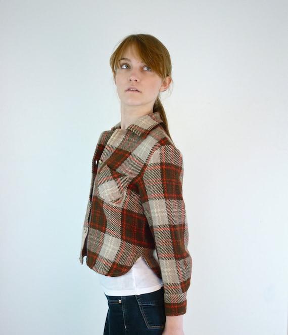 Plaid Blouse - Cropped Tweed Shirt