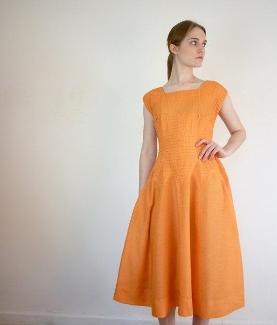 1950s Dress - 50s Dress - Tangerine Day Dress