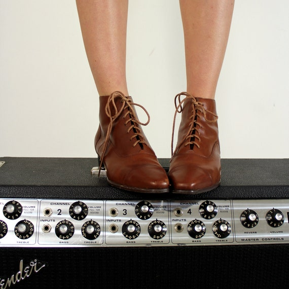 Lace Up Leather Boots, Size 8.5 - 9