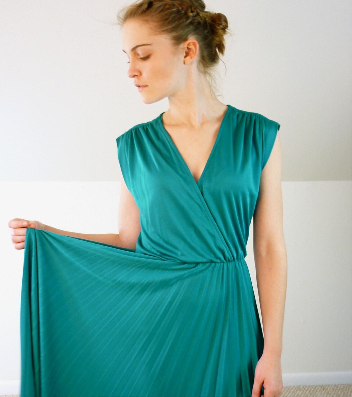 Teal Blue Accordion Pleated Dress