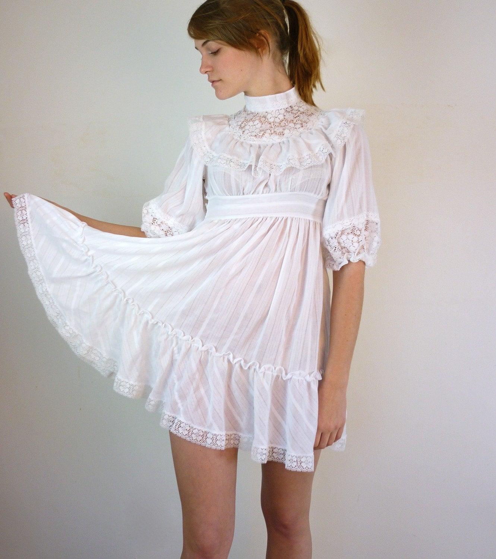 White Lace Babydoll Dress by jessjamesjake on Etsy
