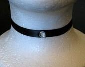 Thin Black Ribbon Chain Clasp Choker w/ bell