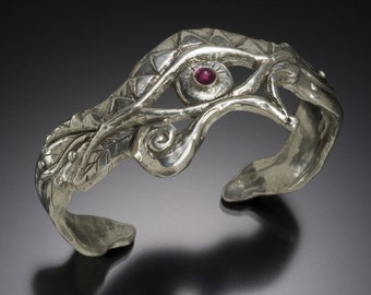 Egyptian  eye cuff bracelet ( Horus or Ra) silver garnet wide boho hippie
