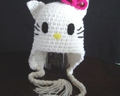 TODDLER  Hello Kitty Earflap Hat /  Photo Prop