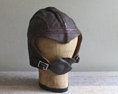 Vintage Hat Leather Military Cap