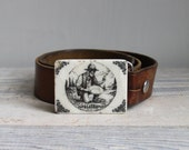 Vintage Leather Belt and Stone Buckle- Alaska
