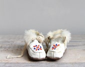 Antique Baby Moccasins - Beaded, Leather, Fur