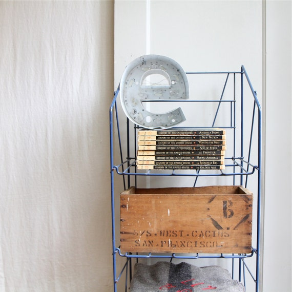Vintage Industrial Collapsible Wire Shelf Unit