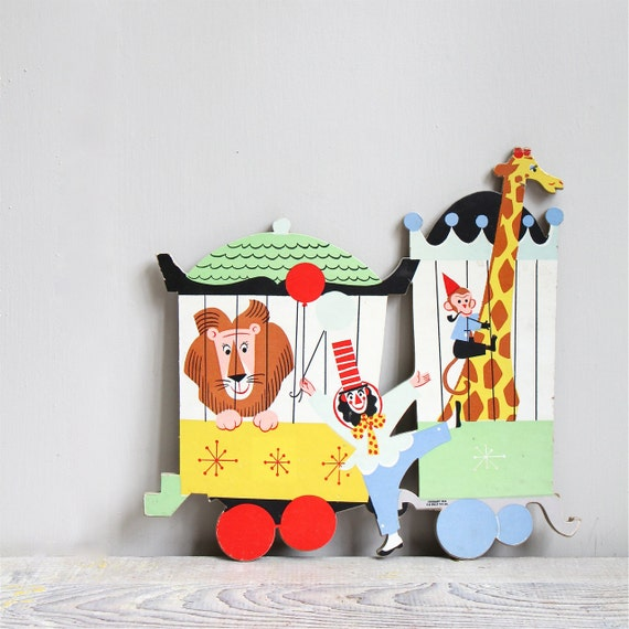Large vintage circus puzzle piece party decor wall hanging for Decoration crossword clue