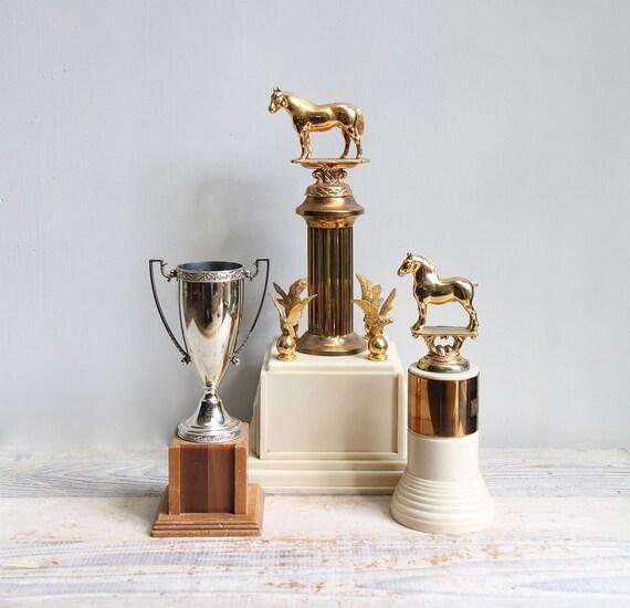 Vintage Equestrian Trophy Pair